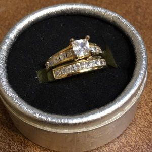 Jewelry - 2pc White Sapphire Gold Filled Ring Set